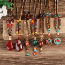 wood beads necklace designs images New design nepal wood beads necklaces natural stone pendant long jpg
