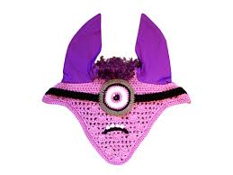 minion ear bonnet for horses crochet cotton handmade horse track
