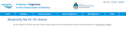 argentina suspends payment of reciprocity fee for holders of us