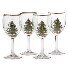 christmas glasses spode christmas tree wine glass set of 4 spode uk