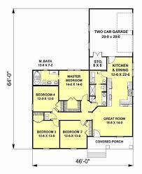 craftsman style house plan 4 beds 2 baths 1612 sq ft plan 44