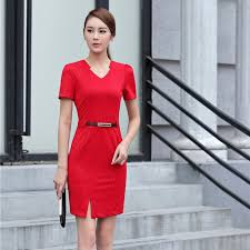 summer formal women red dress short sleeve slim v neck ladies work
