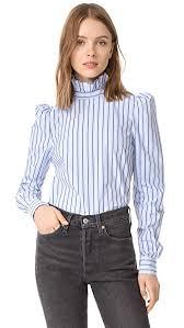 high neck ruffle blouse frame high neck ruffle trim striped cotton shirt evening blue