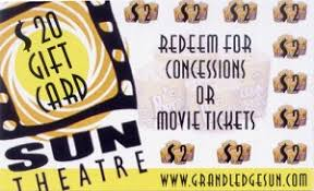20 dollar gift card gift certificates grand ledge sun theatre
