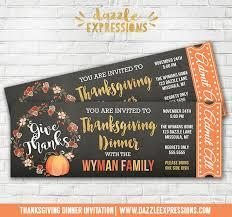printable thanksgiving dinner chalkboard ticket invitation gold
