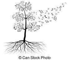 vector clip of tree with notes vector swirly tree