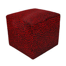 furniture luxury cube cowhide ottoman with red spotted