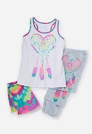 ruffle print mix 3 pajama set pajamas pjs bras