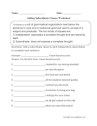 Worksheet Works Com Adding Subordinate Clauses Worksheet Englishlinx Com Board