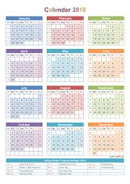 2018 calendar with holidays u0026 week numbers pdf image calendar