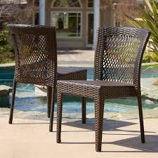 Stackable Wicker Patio Chairs Cliff All Weather Wicker Dining Chairs Set Of 2 Hayneedle