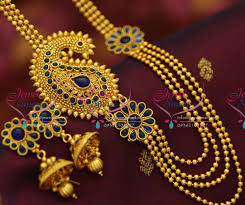 pendant necklace online images Nl4387 kemp blue mango design mugappu side pendant multi strand JPG