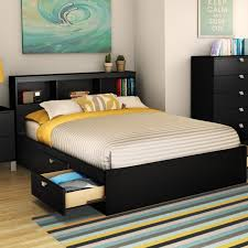 bedroom queen storage bed with bookcase headboard for additional