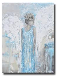 original abstract angel painting guardian angel wings blue wall