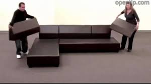 poundex 3pcs hungtinton sectional sofa set ottoman reversible