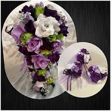 wedding flowers ebay wedding bridal bouquet package lavender purple green silk wedding