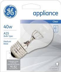 refrigerator light bulb size ge lighting 15206 40 watt appliance light a15 1cd light bulb