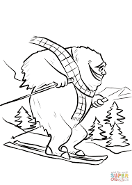 yeti on ski slope coloring page free printable coloring pages