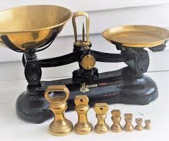 Vintage Kitchen Scales Vintage English Librasco Kitchen Scales 7 Brass Bell Weights