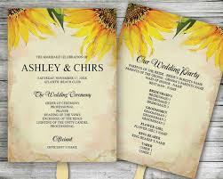 paper fan wedding programs printable customized wedding program sunflowers ceremony order