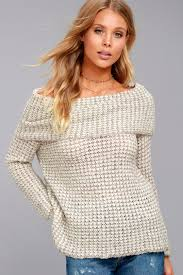 bb dakota bb dakota tegan beige the shoulder sweater