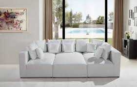 Modern White Bonded Leather Sectional Sofa Casa 206 Modern White Bonded Leather Sectional Sofa