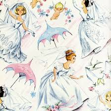 bridal shower wrapping paper illustration