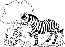 coloring a zebra a tree a and some flowers picture