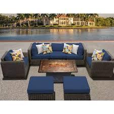 tk classics venice outdoor wicker patio 8 piece fire pit seating