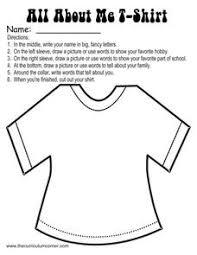 all about me t shirt kindergarten 6th grade worksheet lesson