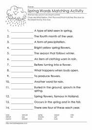 spring word match worksheets
