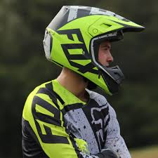 ufo motocross helmet fox racing 2017 mx new v2 nirv grey flo yellow dirt bike