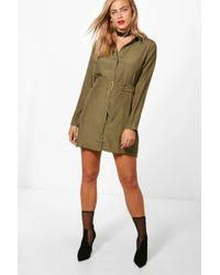 forever 21 belted utility shirt dress in green lyst