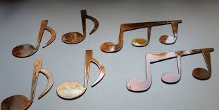 Music Note Wall Decor Music Notes Set Of 6 Metal Wall Art Copper Bronze Plated