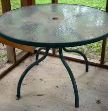 glass top green patio table ebth