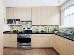 L Shape Kitchen Design Kitchen Cool Green And White Backsplash Decor With L Shape