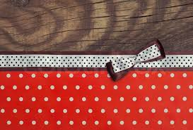 polka dot ribbon vintage background with wood polka dot paper and brown and white