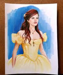 fan draws emma watson belle beauty beast u2014 geektyrant