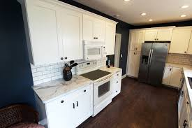 White Laminate Kitchen Cabinets White Kitchen With Marble Look Laminate Countertop Akron Oh