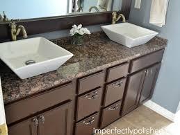 Bathroom Vanity Makeover Ideas by Builder Grade Bathroom Vanity Makeover Stained Vanity And Mirror