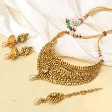 gold necklace jewellery images Buy kundan studded ethnic antique gold necklace jewellery set with jpg