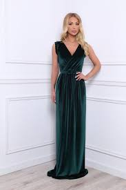 dark green velvet maxi dress wrap neckline high slit