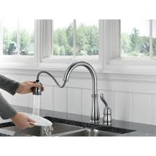 delta hands free kitchen faucet delta 978 ar dst single handle pull down kitchen faucet in arctic