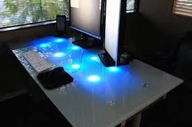 Diy Led Desk L Led Glass Desk With Pictures Inside Gaming Prepare 14