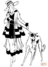 1920s style woman walking dog coloring page free printable