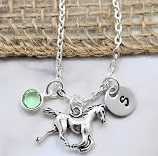 girls personalized necklace images Horse necklace horseback riding rodeo jewelry jpg