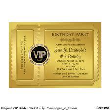 50th Birthday Invitation Card Elegant Vip Golden Ticket Birthday Party Card Golden Ticket