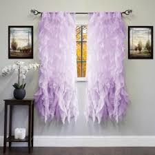 Sheer Ruffled Curtains Purple Ruffle Curtains Wayfair