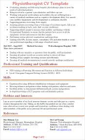 Hobbies And Interests On A Resume Examples by Physiotherapist Cv Template Tips And Download Cv Plaza