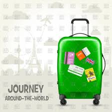 Suitcase with travel tags and european landmarks tourism poster